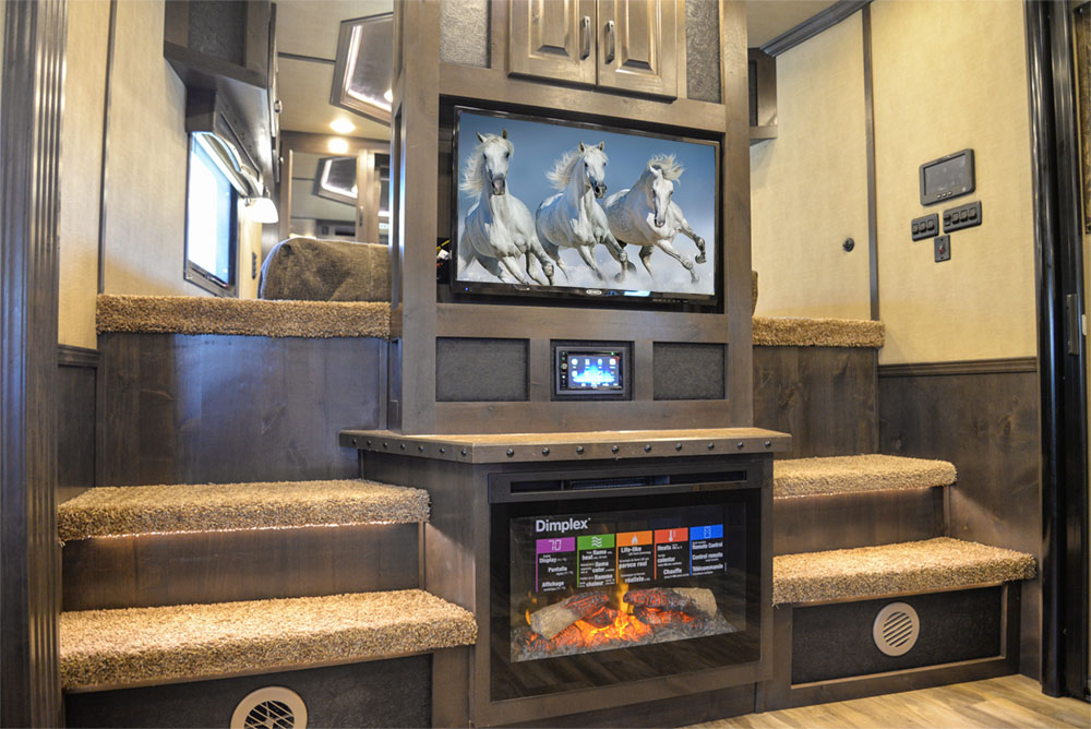 Center Entertainment in a C8X18TCE Bighorn Edition Horse Trailer | Lakota Trailers