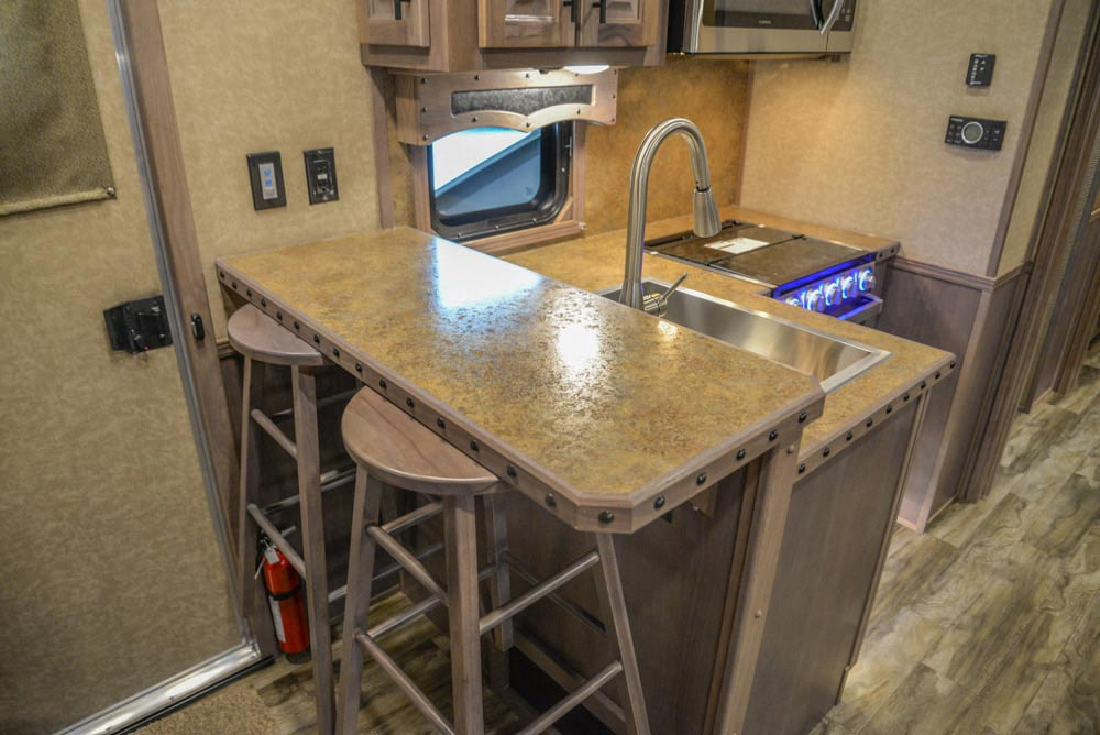 Kitchen Area in a BH8X19TBB Bighorn Edition Horse Trailer | Lakota Trailers