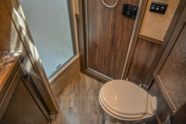 Bathroom Area in a CX9SR Charger Edition Horse Trailer | Lakota Trailers