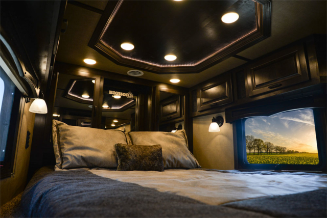 Bed in a C8X18TCE Bighorn Edition Horse Trailer | Lakota Trailers