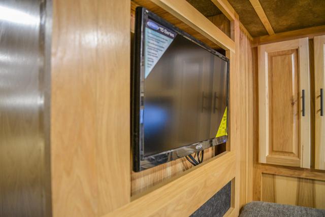 TV in Gooseneck of BH8X192SI Bighorn Edition Horse Trailer | Lakota Trailers