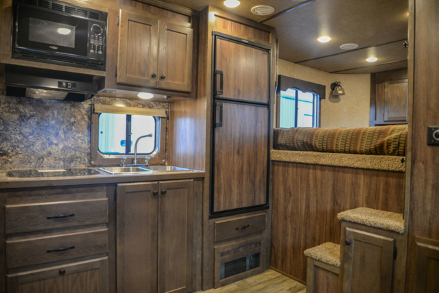 Kitchen in a C8X18BB Charger Edition Horse Trailer | Lakota Trailers