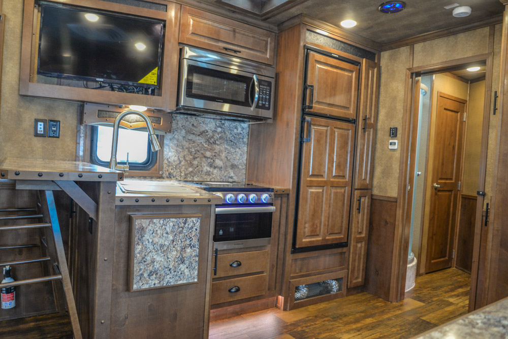 Kitchen Area in BLE8X17SRB Bighorn Edition Livestock Trailer | Lakota Trailers