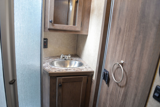 Bathroom in a LE8X11 Livestock Charger Edition | Lakota Trailers