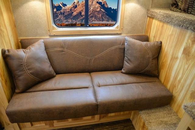 Sofa in CX9 Charger Edition Horse Trailer   Lakota Trailers