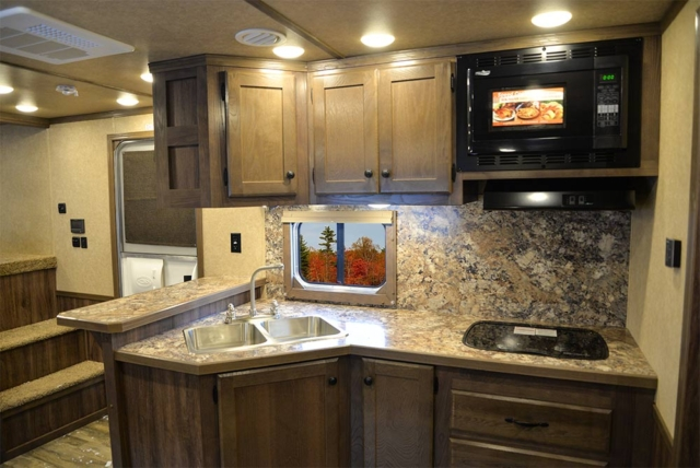 Kitchen Area in C8X14CE Charger Edition Horse Trailer | Lakota Trailers