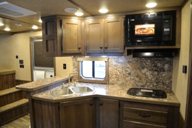 Kitchen in a C8X14CE Charger Edition Horse Trailer | Lakota Trailers