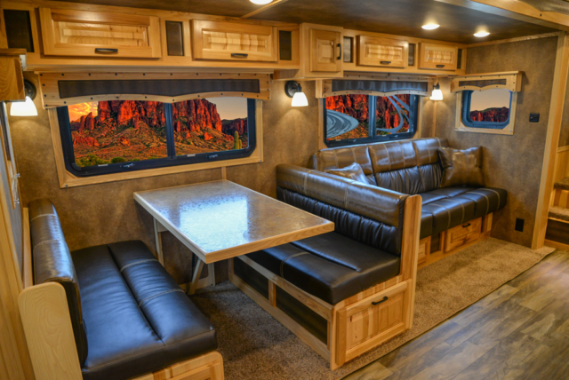 Dinette and Sofa in a BLE8X18CE Bighorn Edition Livestock Trailer | Lakota Trailers