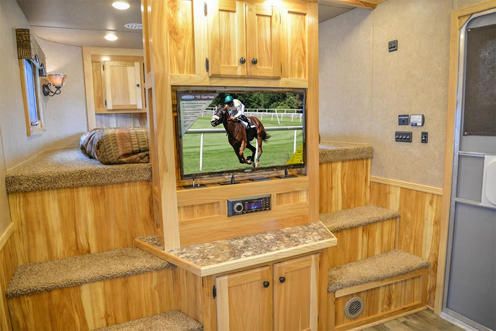 Entertainment Center in C8X18CE Charger Edition Horse Trailer | Lakota Trailers