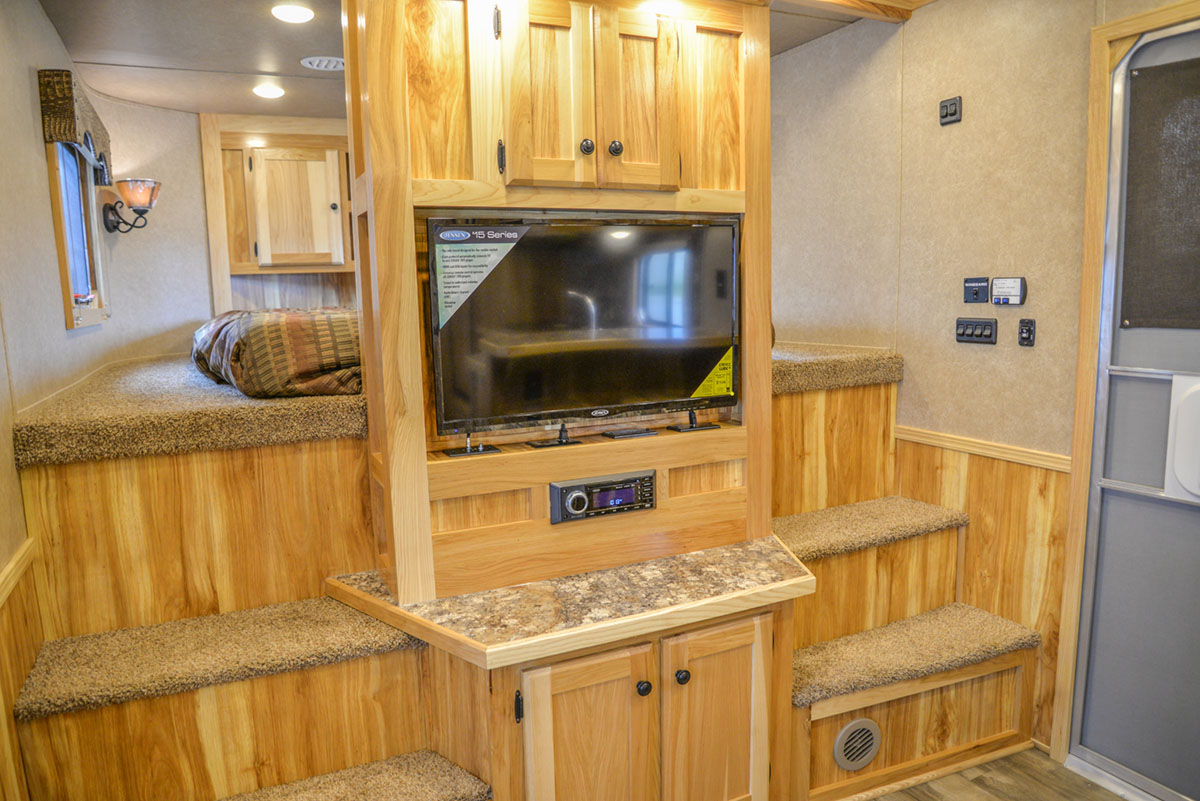 Entertainment Center in Charger C8X18CE Horse Trailer | Lakota Trailers