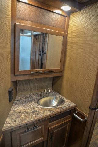 Bathroom in BH8X17SRB | Lakota Trailers