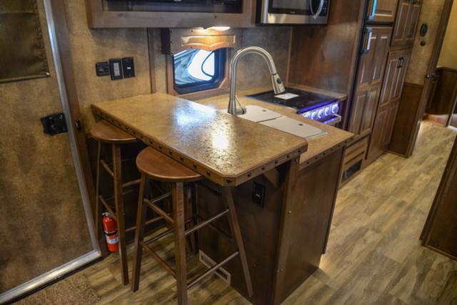 Kitchen in a BH8X19BBSRB Bighorn Edition Horse Trailer | Lakota Trailers
