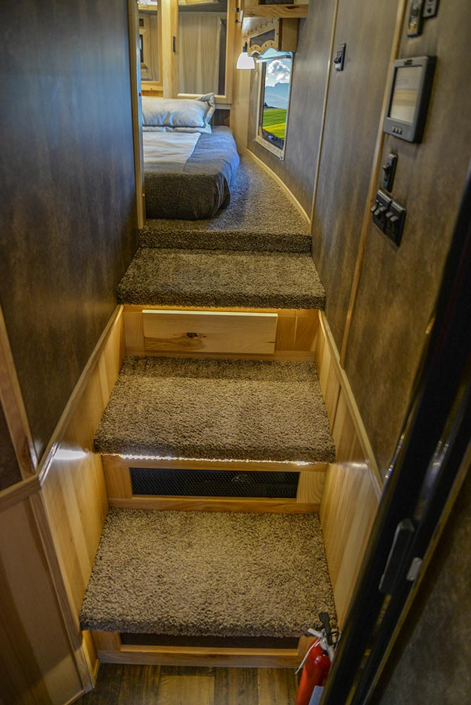 Steps to Gooseneck in BH8X23T2S Bighorn Edition Horse Trailer | Lakota Trailers