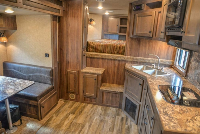 Living Quarters in a LE8X16BB Charger Edition Livestock Trailer | Lakota Trailers