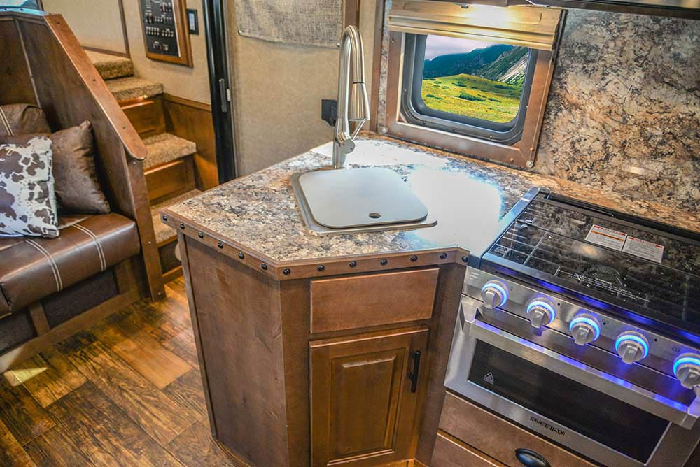 Kitchen Sink in a BH8X13SR Bighorn Edition Horse Trailer | Lakota Trailers