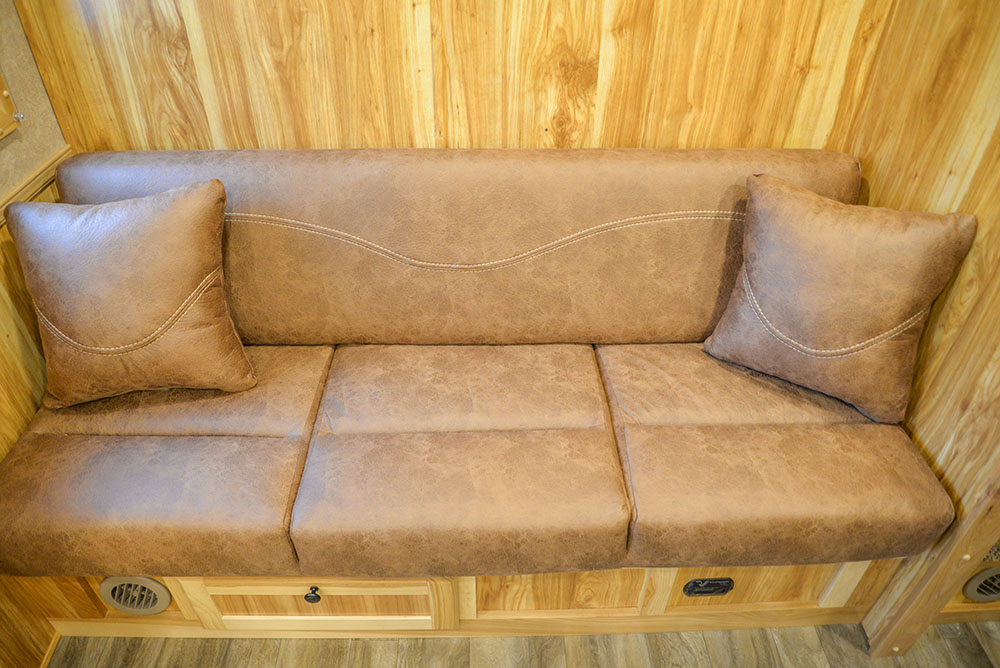 Sofa in C8X15SRB9S Horse Trailer | Lakota Trailers