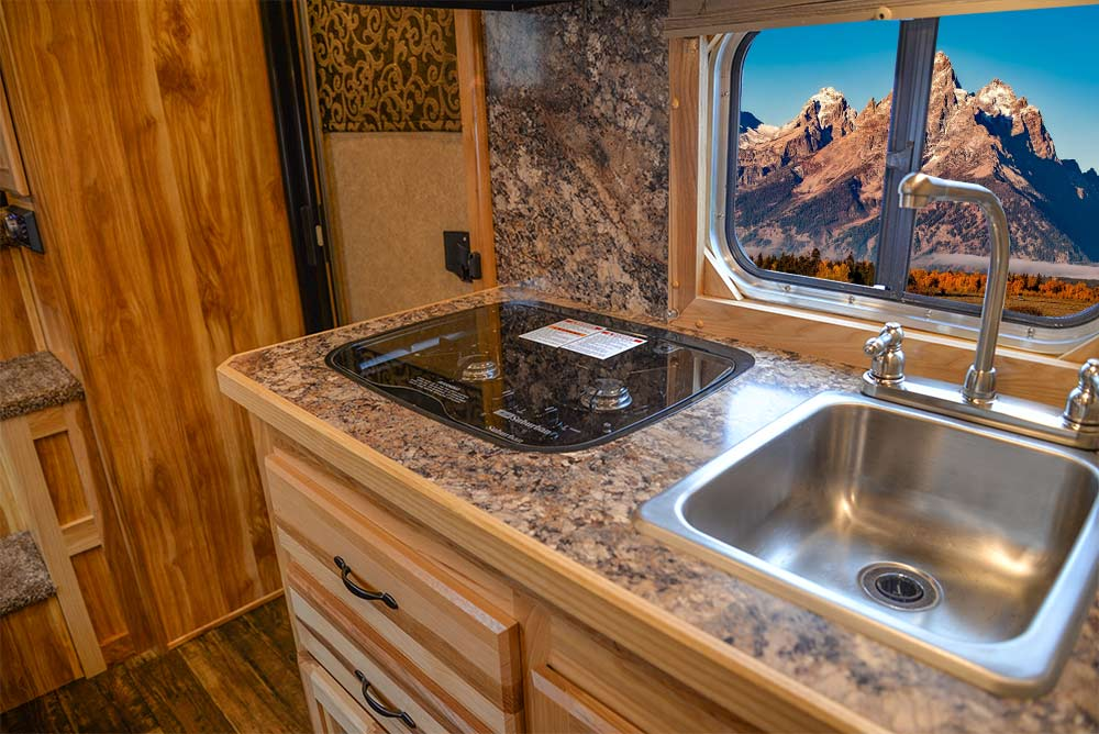 Kitchen in CX9 Charger Edition Horse Trailer   Lakota Trailers