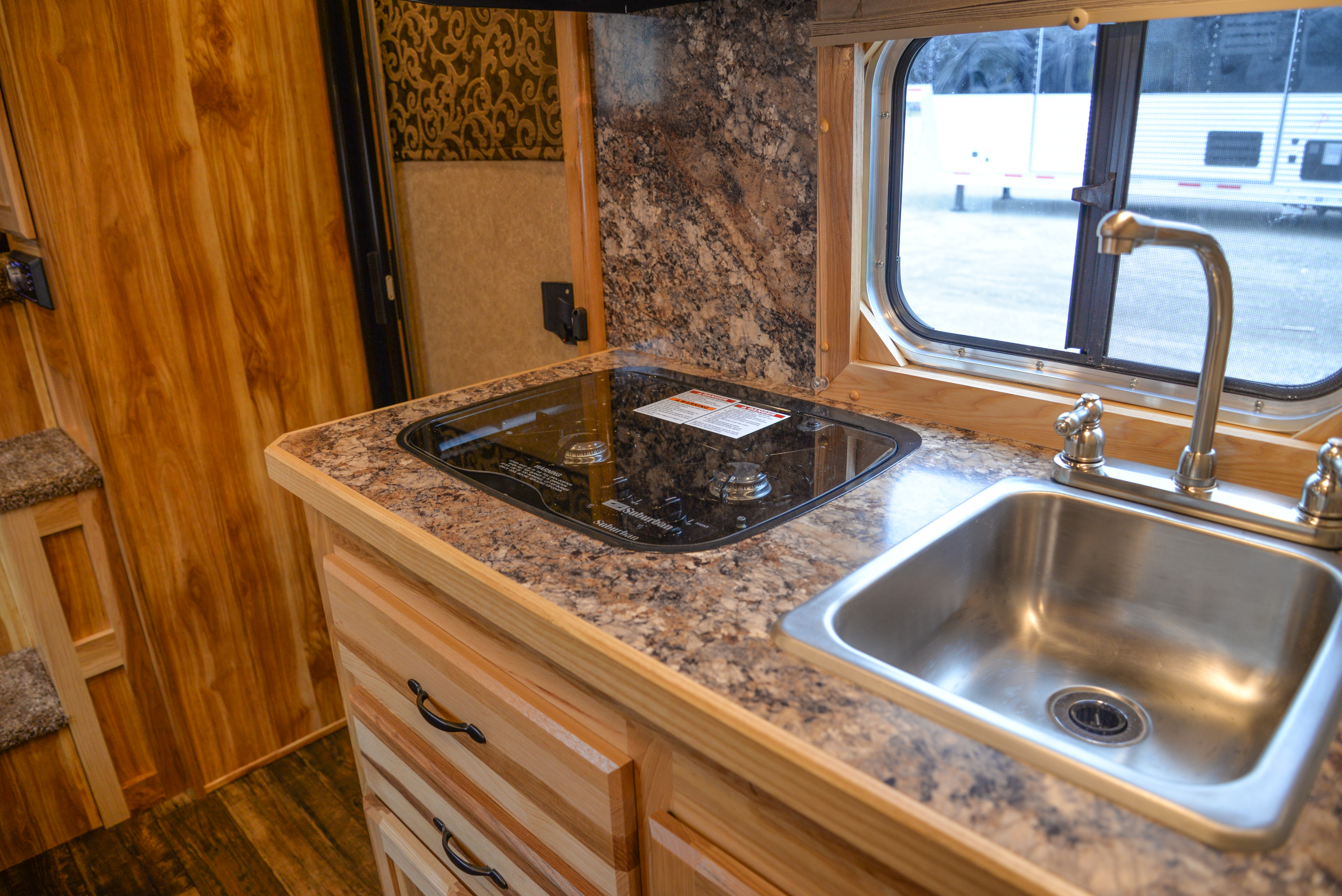 Kitchen in a CX9 Charger Edition Horse Trailer | Lakota Trailers