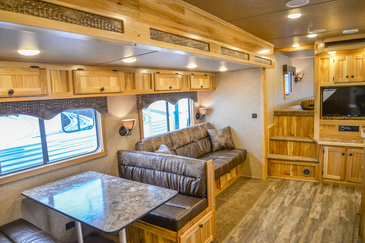 Living Area in Charger C8X18CE Horse Trailer | Lakota Trailers