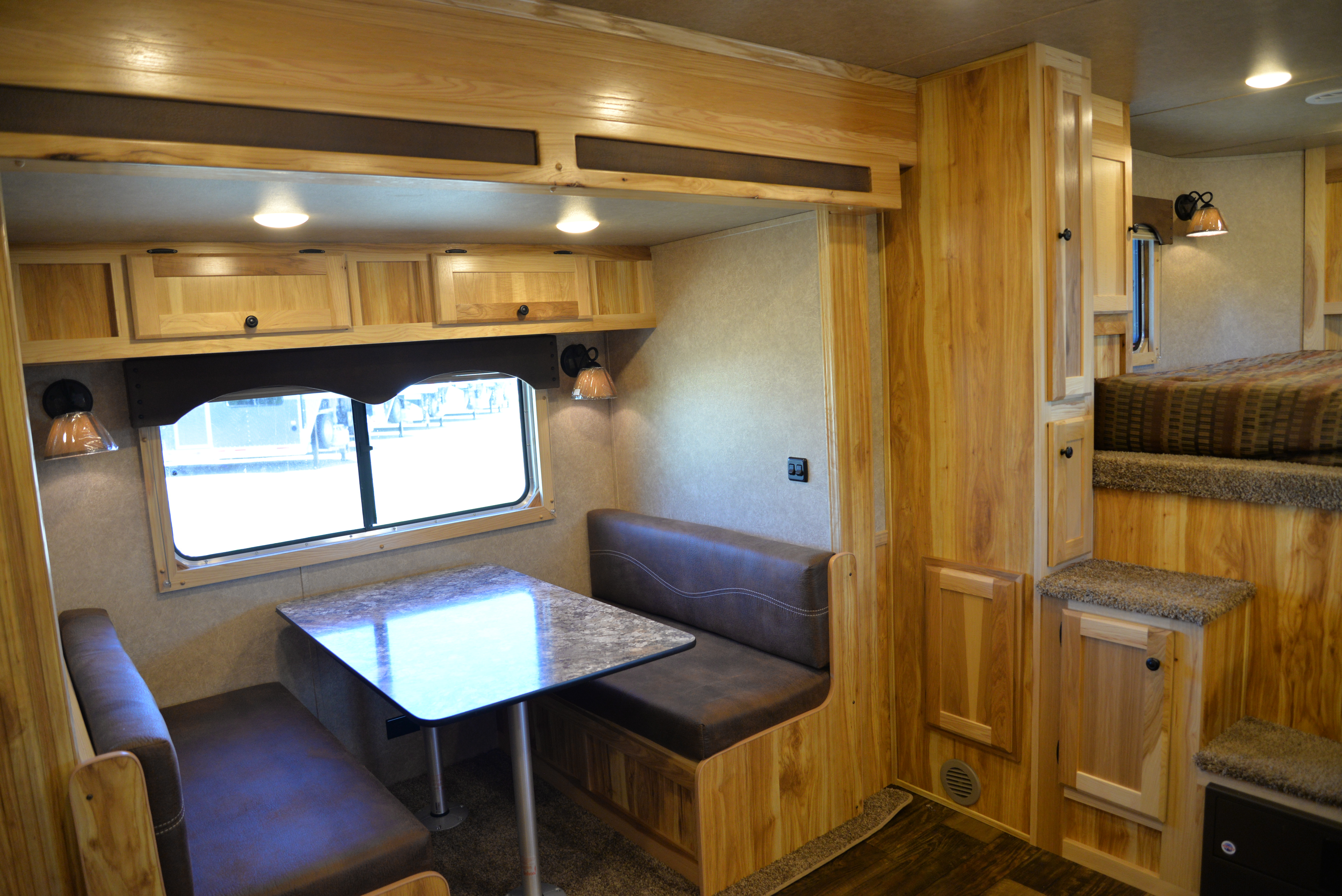Dinette in a Charger C8X16BB Horse Trailer | Lakota Trailers