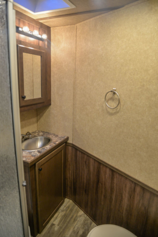 Bathroom in a C8X18BB Charger Edition Horse Trailer | Lakota Trailers