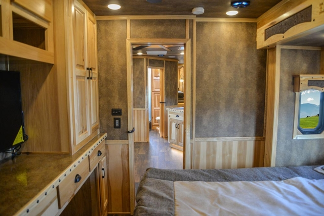 Second Bedroom in BH8X23T2S Bighorn Edition Horse Trailer | Lakota Trailers