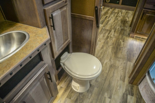 Bathroom in a BH8X19TBB Bighorn Edition Horse Trailer | Lakota Trailers