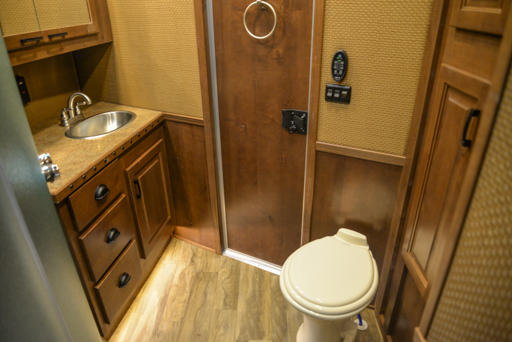 Bathroom in a BH8X19BBSRB Bighorn Edition Horse Trailer | Lakota Trailers
