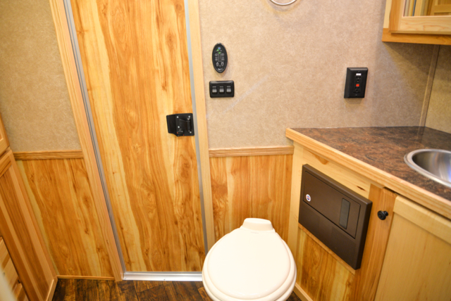 Bathroom in a C8X15SRB Charger Edition Horse Trailer | Lakota Trailers