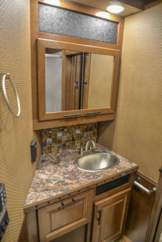 Sink in Bathroom in BH8X18CE | Lakota Trailers