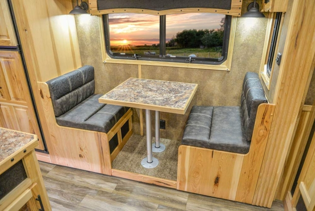 Dinette in Slide-Out of BH8X192SI Bighorn Edition Horse Trailer   Lakota Trailers