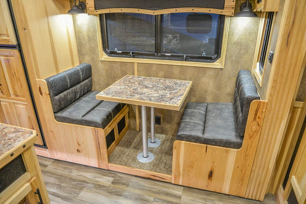 Dinette in Slide-Out of BH8X192SI Bighorn Edition Horse Trailer | Lakota Trailers