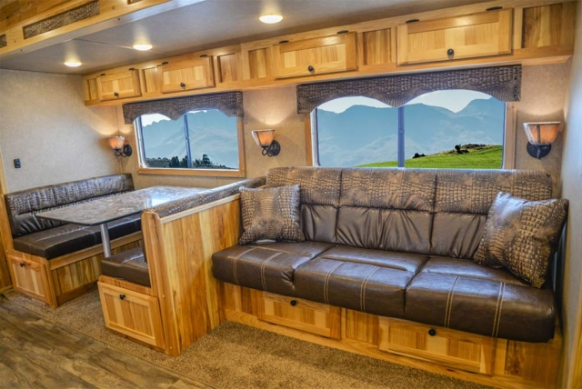 Dinette and Sofa in C8X18CE Charger Edition Horse Trailer | Lakota Trailers
