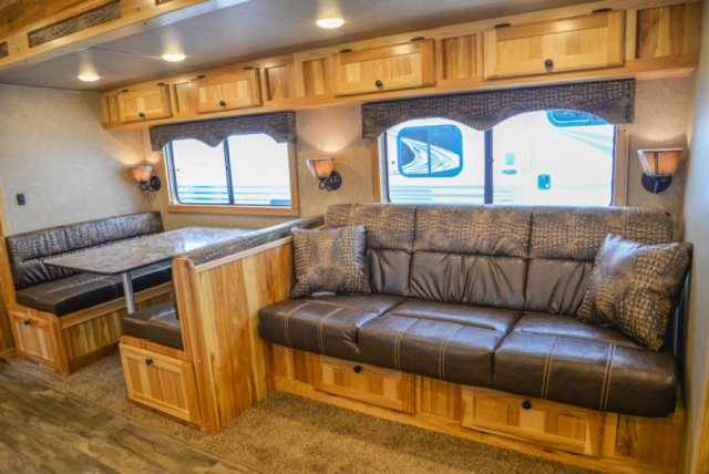 Sofa in Charger C8X18CE Horse Trailer | Lakota Trailers