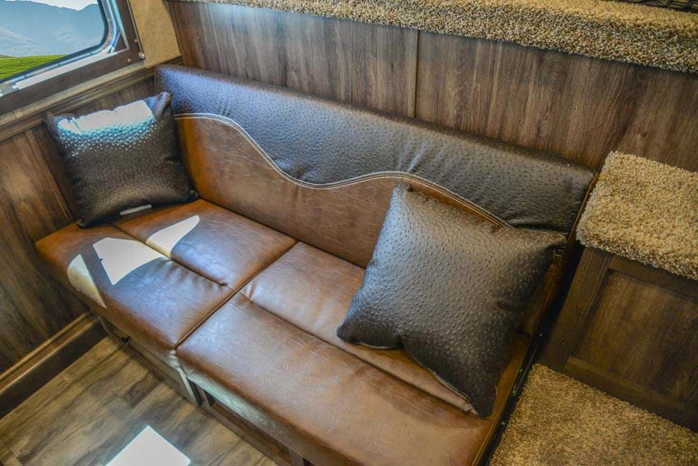 Sofa in CX9SR Charger Edition Horse Trailer | Lakota Trailers