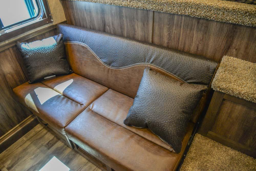 Sofa in a CX9SR Charger Edition Horse Trailer | Lakota Trailers