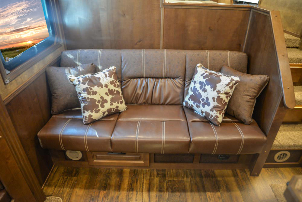 Sofa in BH8X17SRB Bighorn Edition Horse Trailer | Lakota Trailers