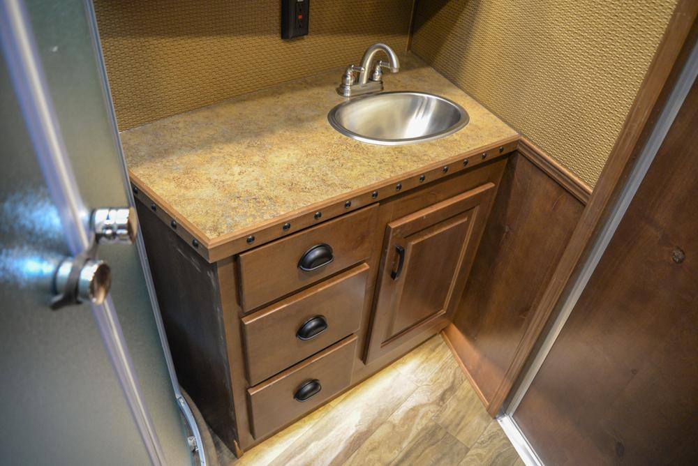 Sink in a BH8X19BBSRB Bighorn Edition Horse Trailer | Lakota Trailers