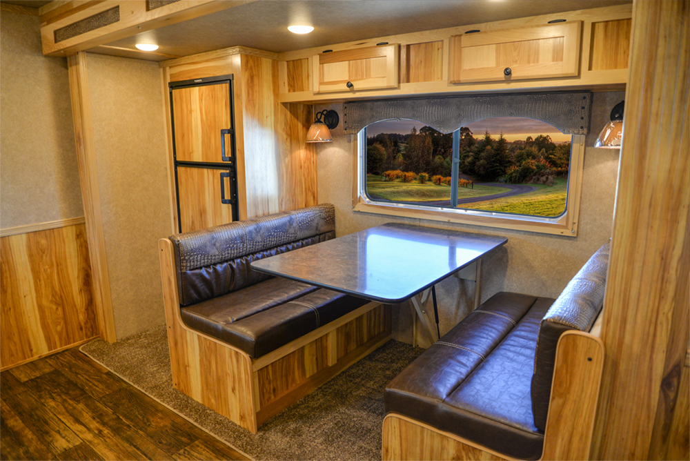 Dinette in a C8X15SRB Charger Edition Horse Trailer | Lakota Trailers