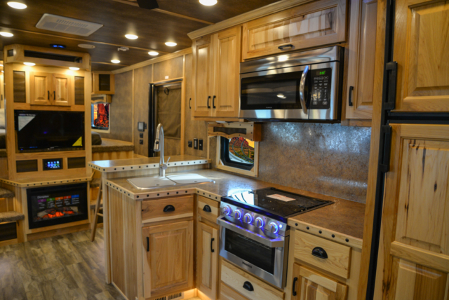 Kitchen in a BLE8X18CE Bighorn Edition Livestock Trailer | Lakota Trailers