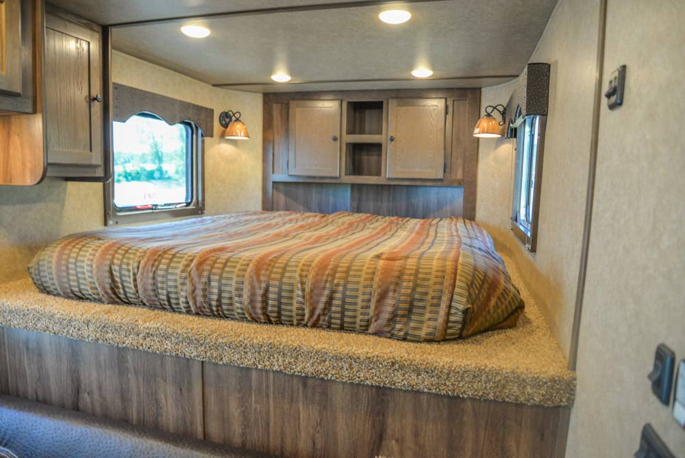 Bed in Gooseneck of a CX9SR Charger Edition Horse Trailer | Lakota Trailers