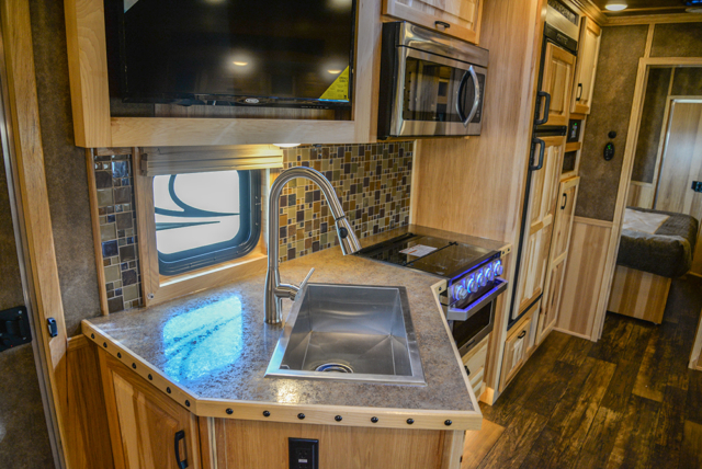 Kitchen in a BH8X23T2S Bighorn Edition Horse Trailer | Lakota Trailers