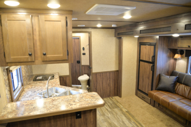 Living Quarters in a C8X14CE Charger Edition Horse Trailer | Lakota Trailers