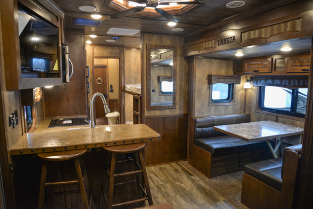 Living Quarters in a BH8X19BBSRB Bighorn Edition Horse Trailer | Lakota Trailers