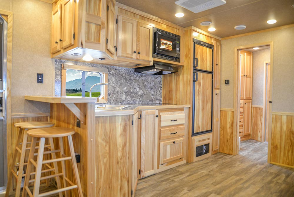 Kitchen Area in C8X18CE Charger Edition Horse Trailer | Lakota Trailers