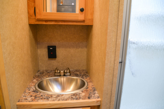 Bathroom in a CX9 Charger Edition Horse Trailer | Lakota Trailers