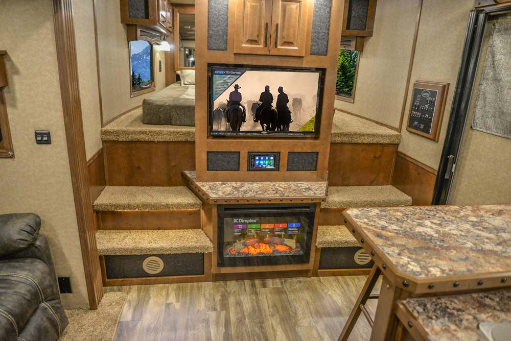 Entertainment Area in BH8X18CE Bighorn Edition Horse Trailer | Lakota Trailers