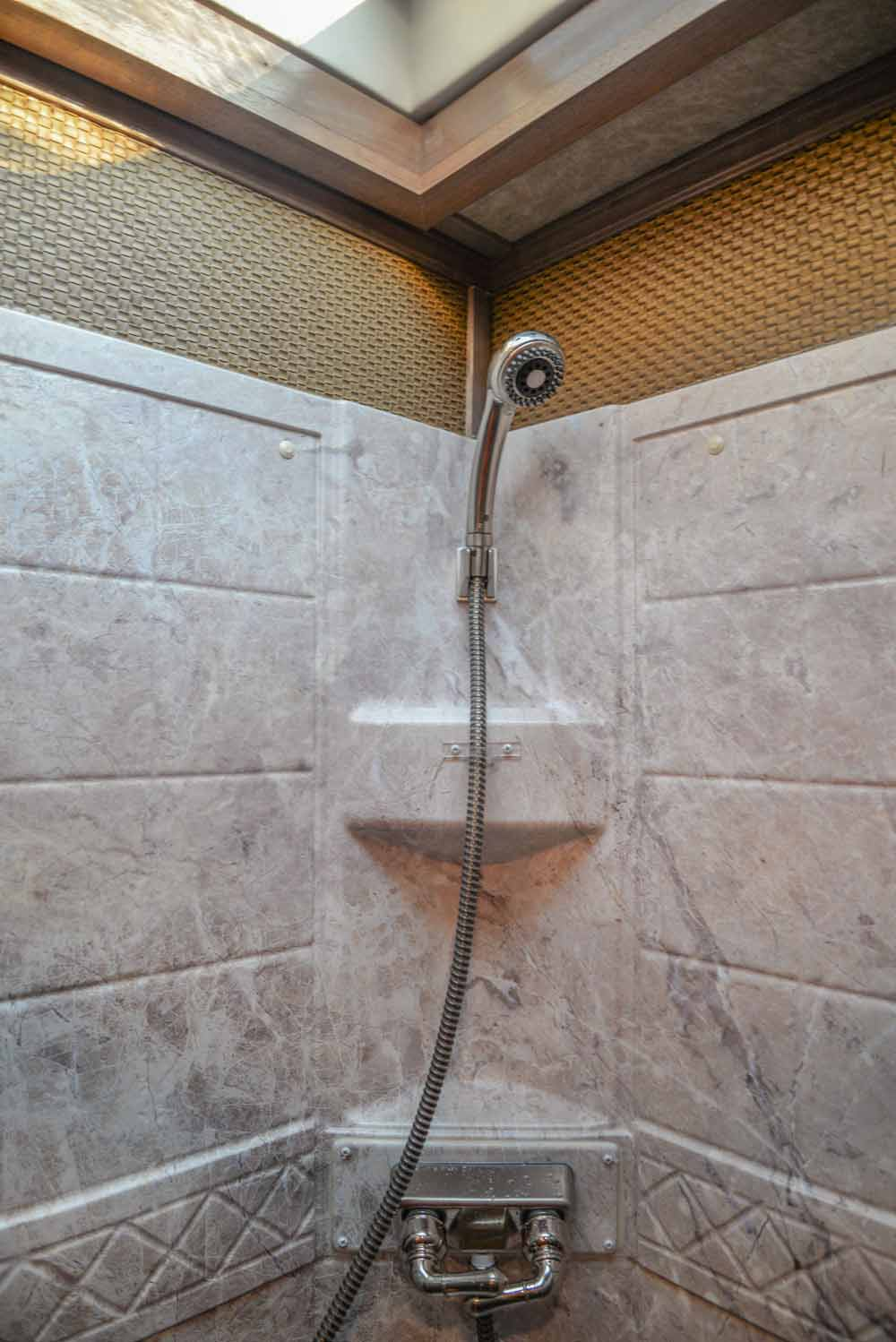 Shower in a BH8X19TBB Bighorn Edition Horse Trailer | Lakota Trailers