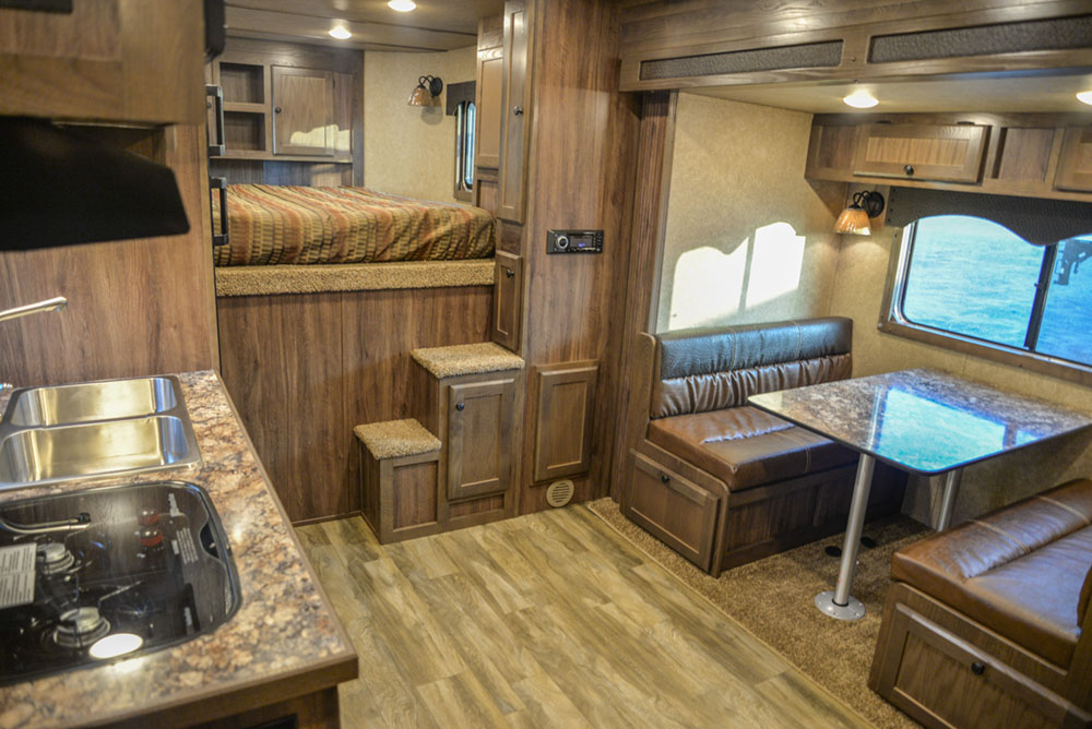 Living Quarters in a C8X18BB Charger Edition Horse Trailer | Lakota Trailers