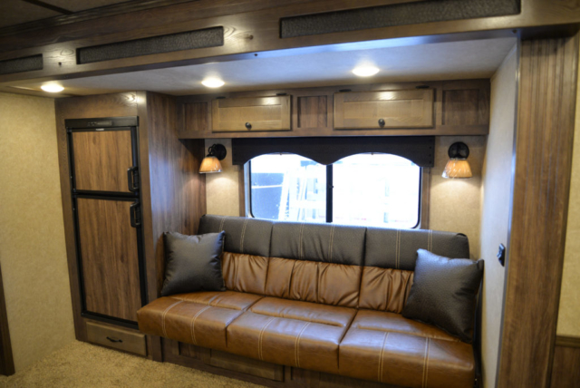 Sofa in a C8X14CE Charger Edition Horse Trailer | Lakota Trailers